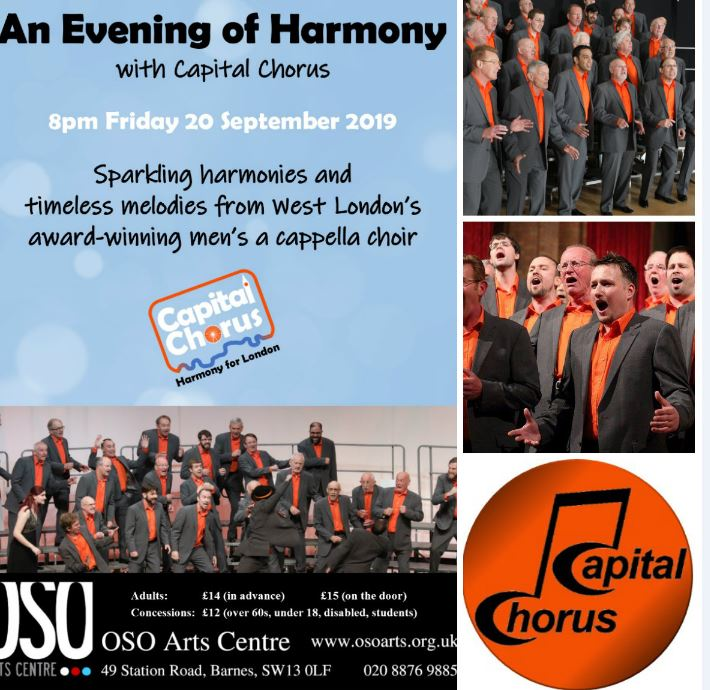 Come and enjoy An Evening of Harmony in Barnes with Capital Chorus on 20 September